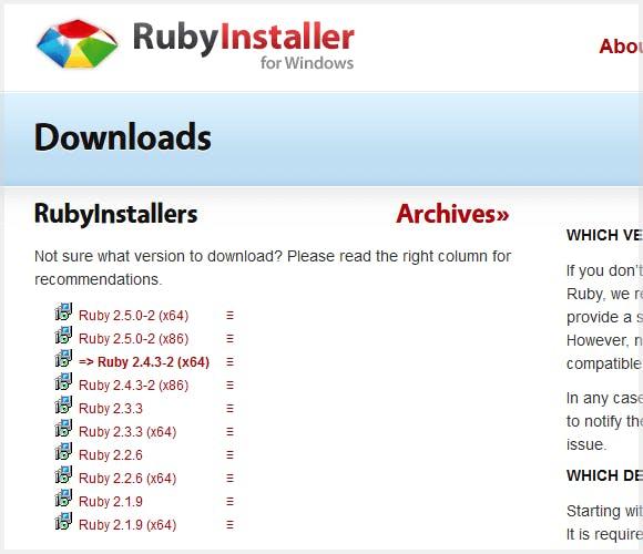 RubyInstaller ダウンロードページの例