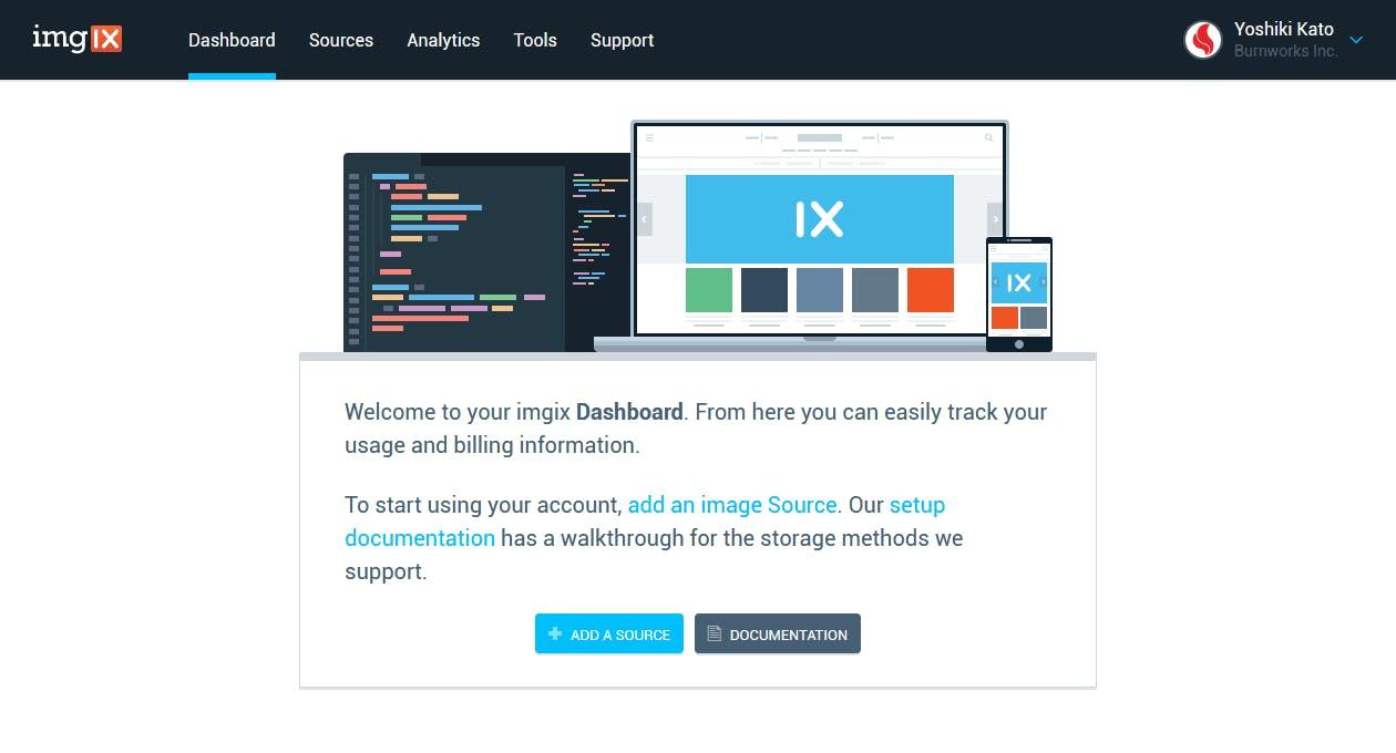 imgix 管理画面 - イメージソースの新規追加