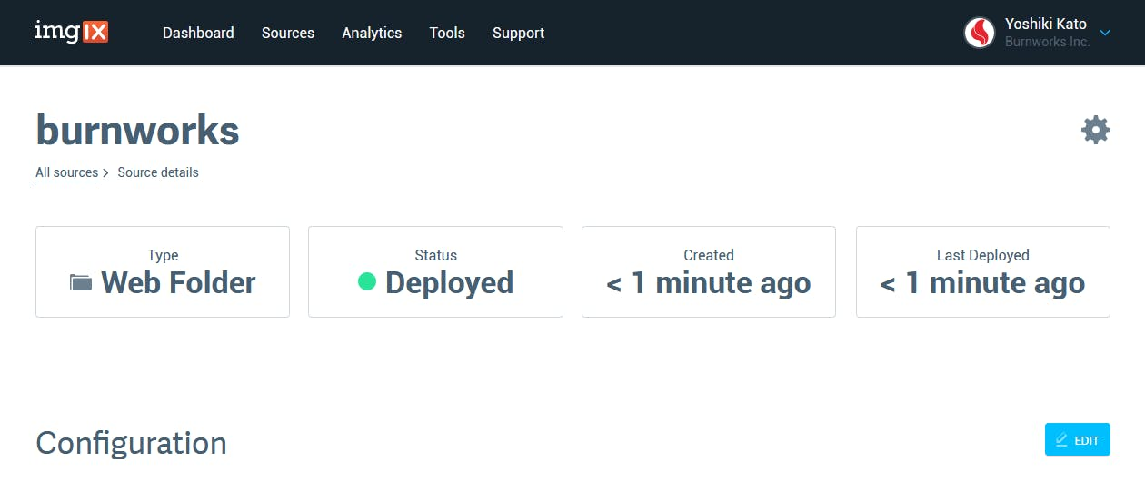 imgix 管理画面 - 設定の保存とデプロイ完了