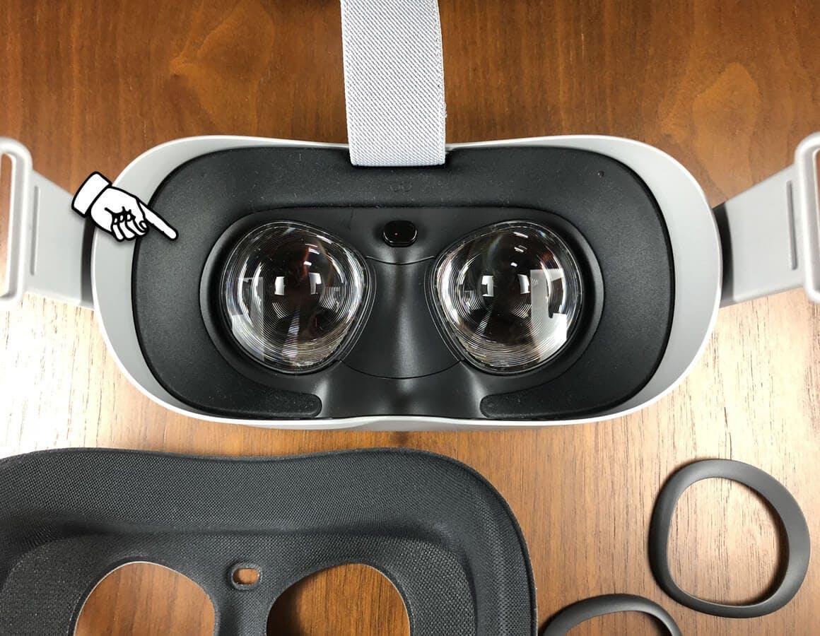 眼鏡スペーサーを装着 - Oculus Go